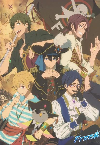 Tags: Anime, Kyoto Animation, Free!, Nanase Haruka (Free!), Tachibana Makoto, Matsuoka Rin, Ryuugazaki Rei, Hazuki Nagisa, Skull And Crossbones, Pirate Flag, Scan, Mobile Wallpaper, Official Art