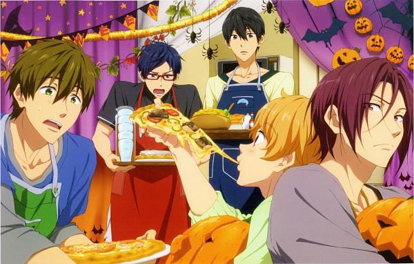 Tags: Anime, Nishiya Futoshi, Kyoto Animation, Free!, Tachibana Makoto, Matsuoka Rin, Ryuugazaki Rei, Hazuki Nagisa, Nanase Haruka (Free!), Spider, Pizza, Official Art, Replacement