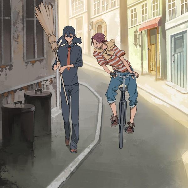 Tags: Anime, Hana (Pixiv63727), Free!, Nanase Haruka (Free!), Matsuoka Rin, Majo no Takkyuubin (Parody), PNG Conversion