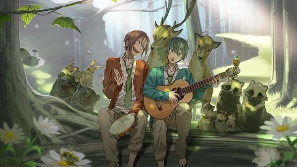 Tags: Anime, Hana (Pixiv63727), Free!, Nanase Haruka (Free!), Matsuoka Rin, Tambourine, Deer, Wallpaper, HD Wallpaper, Facebook Cover, PNG Conversion, RinHaru