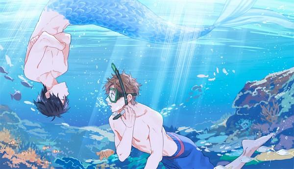 Tags: Anime, Zukki, Free!, Nanase Haruka (Free!), Tachibana Makoto, Snorkel, Pixiv, Fanart, Fanart From Pixiv