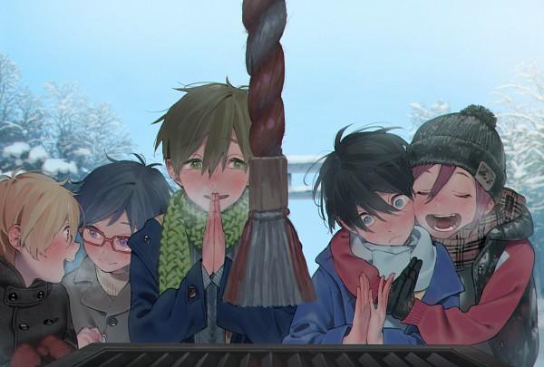 Tags: Anime, Hana (Pixiv63727), Free!, Hazuki Nagisa, Ryuugazaki Rei, Nanase Haruka (Free!), Tachibana Makoto, Praying, Pixiv, Fanart, Fanart From Pixiv, PNG Conversion