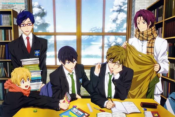 Tags: Anime, Hikiyama Kayo, Kyoto Animation, Free! Eternal Summer, Free!, Tachibana Makoto, Matsuoka Rin, Ryuugazaki Rei, Hazuki Nagisa, Nanase Haruka (Free!), Writing, Official Art, Scan