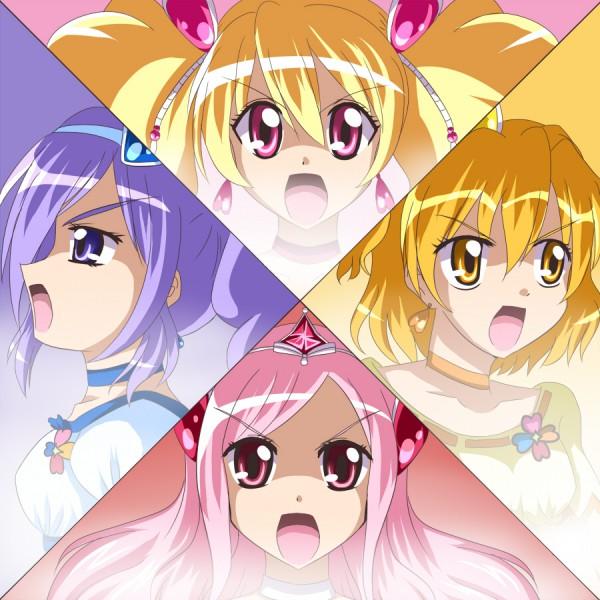 Tags: Anime, Jun (Aoerm), Fresh Precure!, Higashi Setsuna, Aono Miki, Cure Peach, Momozono Love, Cure Berry, Cure Pine, Cure Passion, Yamabuki Inori, Fanart, Pixiv
