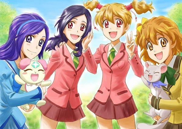 Tags: Anime, Kiropin, Fresh Precure!, Aono Miki, Momozono Love, Tarte, Chiffon (Pretty Cure), Higashi Setsuna, Yamabuki Inori, Ferret, Fanart, Pixiv, Fanart From Pixiv
