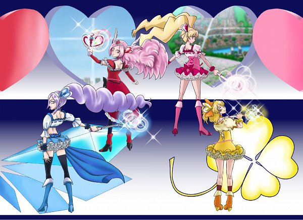 Tags: Anime, Pixiv Id 1607147, Fresh Precure!, Momozono Love, Cure Peach, Cure Berry, Aono Miki, Red Armwear, Yellow Footwear, Fanart From Pixiv, Pixiv, Fanart