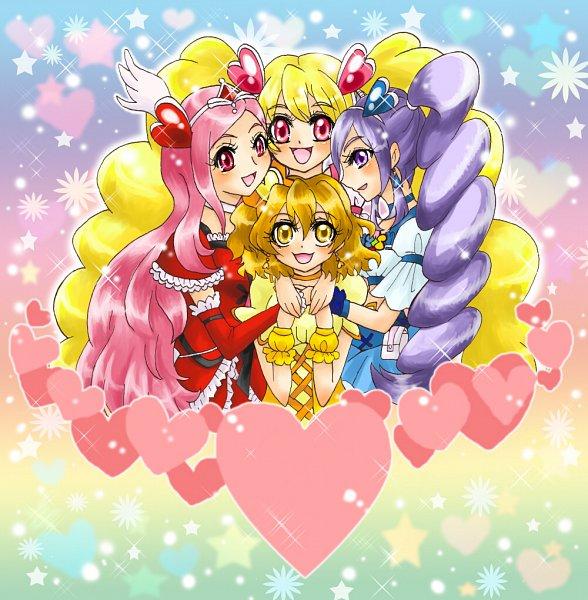 Tags: Anime, Pixiv Id 393324, Fresh Precure!, Cure Pine, Cure Passion, Yamabuki Inori, Higashi Setsuna, Aono Miki, Cure Peach, Momozono Love, Cure Berry, Group Hug, Red Armwear
