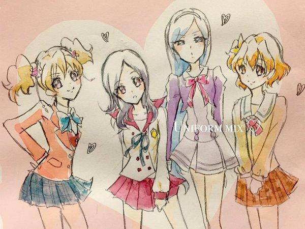Tags: Anime, Fpminnie1, Fresh Precure!, Higashi Setsuna, Yamabuki Inori, Aono Miki, Momozono Love, Pretty Cure Series (Parody), Twitter, Fanart