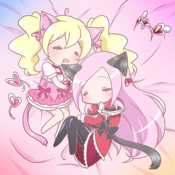 Tags: Anime, 0417nao, Fresh Precure!, Cure Passion, Higashi Setsuna, Cure Peach, Momozono Love, Fanart, Pixiv, Fanart From Pixiv