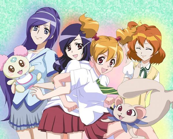 Tags: Anime, Muka, Fresh Precure!, Aono Miki, Momozono Love, Tarte, Chiffon (Pretty Cure), Higashi Setsuna, Yamabuki Inori, Ferret, Wallpaper, Fanart, Pixiv