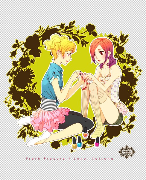 Tags: Anime, Uyu (cartoon-tv), Fresh Precure!, Higashi Setsuna, Momozono Love, Pixiv, Fanart From Pixiv, Fanart