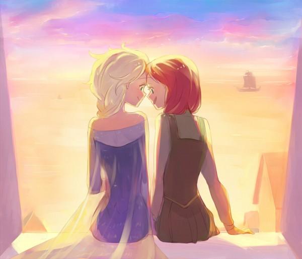Tags: Anime, sou (Pixiv2760884), Frozen (Disney), Princess Anna of Arendelle, Elsa the Snow Queen, Forehead Against Forehead, Disney, Pixiv, Fanart, Fanart From Pixiv, Elsanna