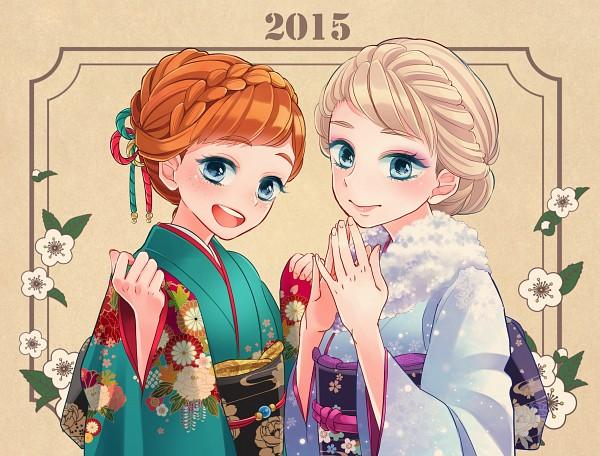 Tags: Anime, Pixiv Id 10490305, Frozen (Disney), Princess Anna of Arendelle, Elsa the Snow Queen, Pixiv, Fanart, Happy 2015, Fanart From Pixiv, Disney