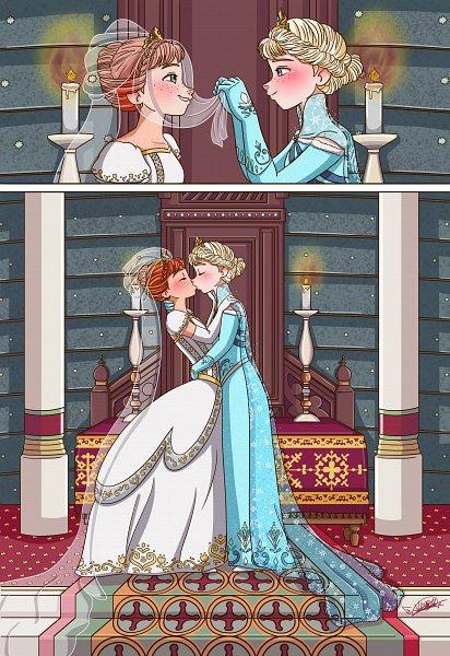 Tags: Anime, Frozen (Disney), Frozen, Princess Anna of Arendelle, Elsa the Snow Queen, Shiko-k, Throne, Disney, deviantART, Elsanna