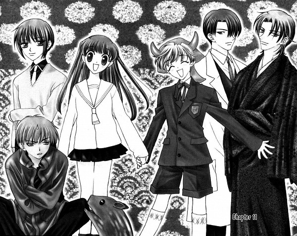 Tags: Anime, Takaya Natsuki, Fruits Basket, Sohma Yuki, Sohma Kagura, Honda Tohru, Sohma Hatori, Sohma Shigure, Sohma Momiji, Sohma Kyo, Manga Page, Chapter Cover, Official Art