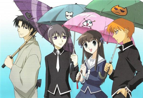 Tags: Anime, Fruits Basket, Sohma Kyo, Sohma Yuki, Honda Tohru, Sohma Shigure, Onigiri