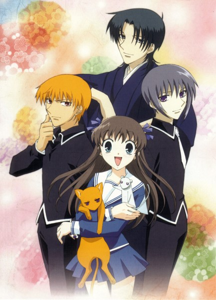 Tags: Anime, Fruits Basket, Sohma Yuki (rat), Sohma Kyo, Sohma Yuki, Sohma Shigure, Honda Tohru, Sohma Kyo (cat), Mobile Wallpaper