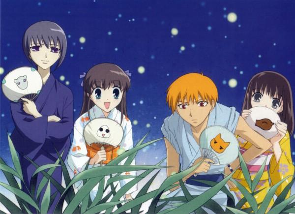 Tags: Anime, Fruits Basket, Sohma Kyo, Sohma Yuki, Honda Tohru, Sohma Kagura, Onigiri, Festival, Official Art