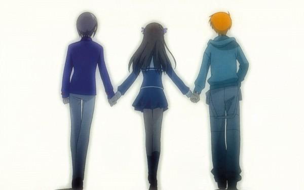 Tags: Anime, Fruits Basket, Sohma Kyo, Sohma Yuki, Honda Tohru, Walking Together, Wallpaper, HD Wallpaper