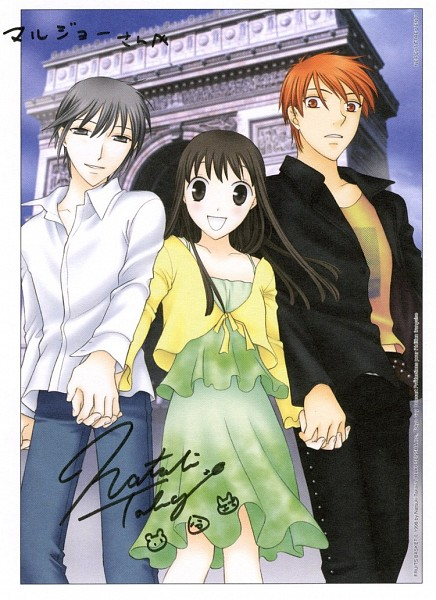 Tags: Anime, Fruits Basket, Sohma Kyo, Sohma Yuki, Honda Tohru, Mobile Wallpaper, Artist Request