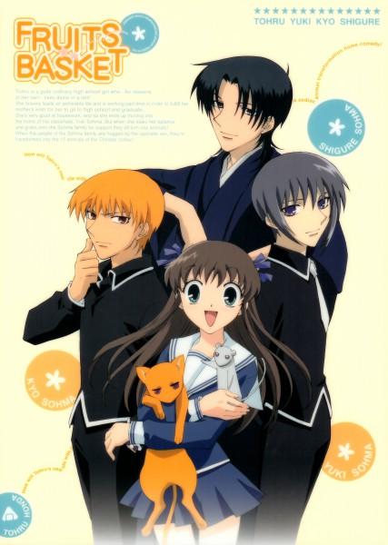 Tags: Anime, Studio DEEN, Fruits Basket, Sohma Kyo (cat), Sohma Yuki (rat), Sohma Shigure, Sohma Kyo, Sohma Yuki, Honda Tohru, Official Art