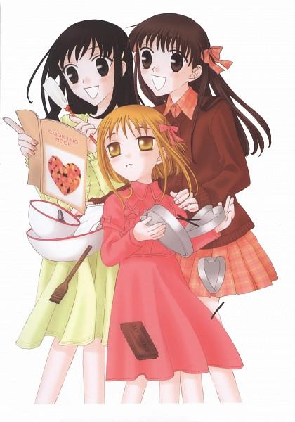 Tags: Anime, Takaya Natsuki, Fruits Basket, Sohma Kisa, Sohma Kagura, Honda Tohru, Cookbook, Mobile Wallpaper, Scan, Official Art