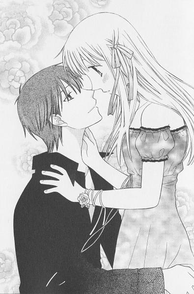 Tags: Anime, Takaya Natsuki, Fruits Basket, Sohma Kyo, Honda Tohru, Mobile Wallpaper, Scan, Chapter Cover, Official Art, Manga Page