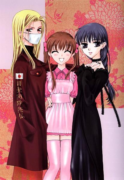 Tags: Anime, Takaya Natsuki, Fruits Basket, Honda Tohru, Uotani Arisa, Hanajima Saki, Yankee, Tokkoufuku, Official Art, Mobile Wallpaper