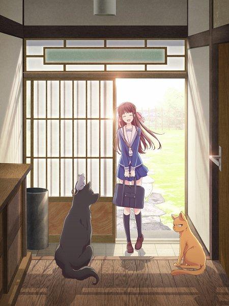 Tags: Anime, Shindo Masaru, TMS Entertainment, Fruits Basket, Sohma Shigure, Sohma Yuki (rat), Sohma Kyo, Sohma Yuki, Sohma Shigure (dog), Honda Tohru, Sohma Kyo (cat), Shouji, Sitting On Head