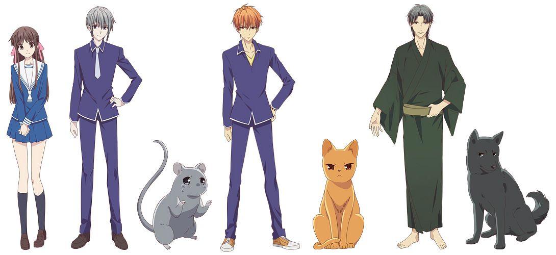 Tags: Anime, Shindo Masaru, TMS Entertainment, Fruits Basket, Sohma Kyo, Sohma Shigure, Sohma Yuki, Honda Tohru, Official Art, Edited, Character Sheet