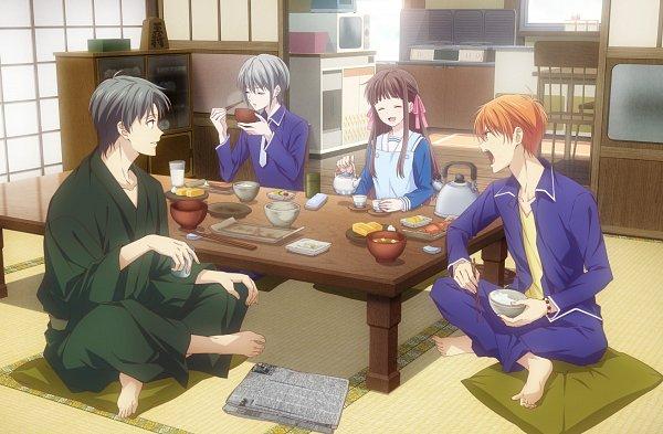 Tags: Anime, Shindo Masaru, TMS Entertainment, Fruits Basket, Sohma Kyo, Sohma Yuki, Honda Tohru, Sohma Shigure, Kettle, Living Room, Kitchen, Tatami, Cabinet