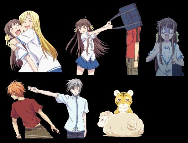 Tags: Anime, Shindo Masaru, TMS Entertainment, Fruits Basket, Sohma Kisa, Honda Tohru, Sohma Hiro, Sohma Kyo, Uotani Arisa, Sohma Yuki, O O, Covered Face, = =