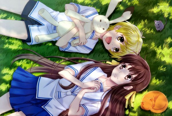 Tags: Anime, Ban Yukiko, TMS Entertainment, Fruits Basket, Sohma Yuki, Sohma Kyo (cat), Honda Tohru, Sohma Yuki (rat), Sohma Momiji, Magazine (Source), Scan, Official Art