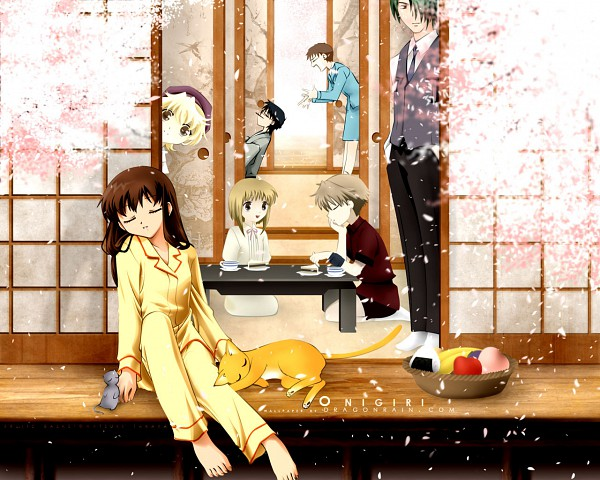 Tags: Anime, Fruits Basket, Sohma Yuki, Sohma Kyo (cat), Sohma Hatori, Sohma Yuki (rat), Sohma Momiji, Sohma Shigure, Sohma Kisa, Sohma Kyo, Sohma Hiro, Onigiri, Porch