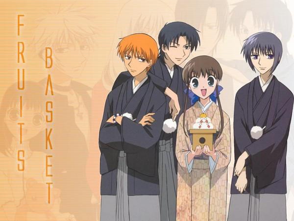 Tags: Anime, Fruits Basket, Sohma Shigure, Sohma Kyo, Sohma Yuki, Honda Tohru, Wallpaper
