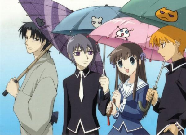 Tags: Anime, Fruits Basket, Sohma Shigure, Sohma Kyo, Sohma Yuki, Honda Tohru, Official Art