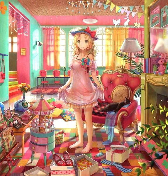 Tags: Anime, Fuji Choko, Banner, Fireplace, Carousel, Bead Curtain, Hazel, Messy Room, Original, Pixiv