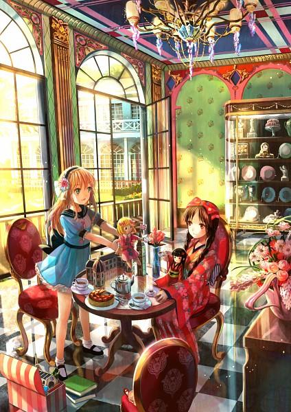 Tags: Anime, Fuji Choko, Tea Party, Vase, Chandelier, Pixiv, Original, Mobile Wallpaper