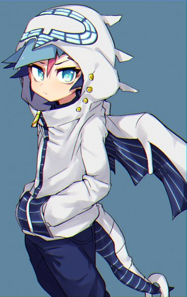 Tags: Anime, Mmo122222, Yu-Gi-Oh! VRAINS, Yu-Gi-Oh!, Fujiki Yuusaku, Aqua Background, Dragon Tail, Firewall Dragon (Cosplay), Fanart, Twitter
