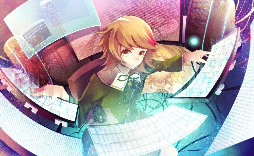 Tags: Anime, Pixiv Id 3281028, Danganronpa, Fujisaki Chihiro, Monitor, Keyboard (Computer), Pixiv, Fanart From Pixiv, Fanart