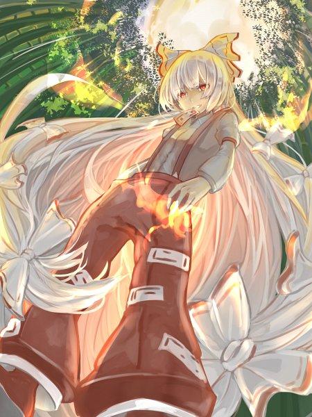 Tags: Anime, Pixiv Id 21940243, Touhou, Fujiwara no Mokou, Red Pants, Fanart, Pixiv, Wallpaper, Fanart From Pixiv