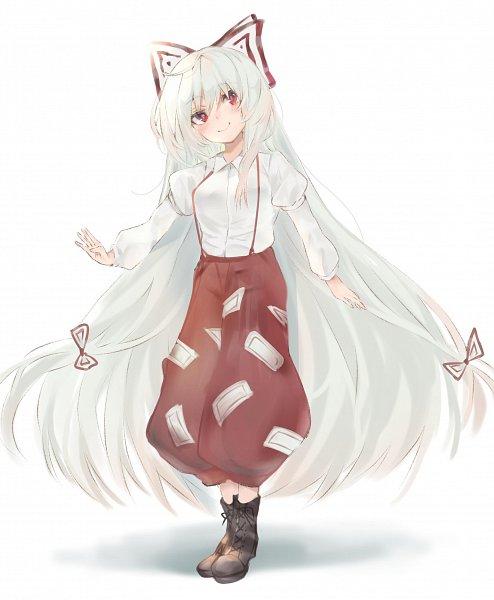 Tags: Anime, Pixiv Id 34722049, Touhou, Fujiwara no Mokou, Red Pants, Pixiv, Fanart From Pixiv, Fanart