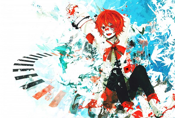 Tags: Anime, Ruuya, VOCALOID, Fukase (VOCALOID), Patch On The Nose, X (Symbol), Abstract Background, Fanart, Fanart From Pixiv, Pixiv