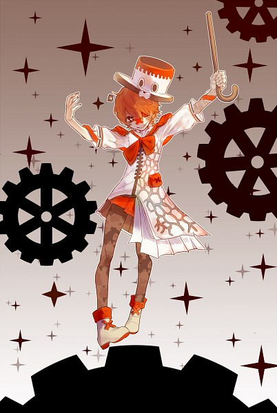 Tags: Anime, Pixiv Id 5522796, VOCALOID, Fukase (VOCALOID), Brown Nails, Orange Neckwear, X (Symbol), Asymmetrical Clothing, Orange Skirt, Pouch, Patch On The Nose, Fanart From Pixiv, Fanart
