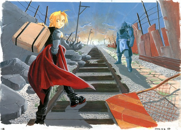 Tags: Anime, Fullmetal Alchemist, Alphonse Elric, Edward Elric, Scan, Artbook Cover
