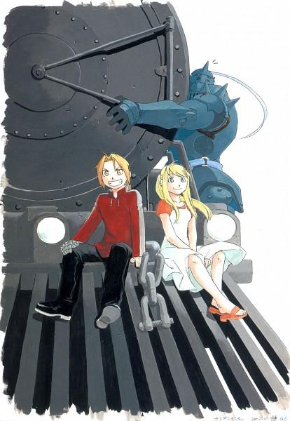 Tags: Anime, Arakawa Hiromu, Fullmetal Alchemist, Fullmetal Alchemist Art Book Vol. 2, Alphonse Elric, Edward Elric, Winry Rockbell, Mobile Wallpaper, Official Art, Scan