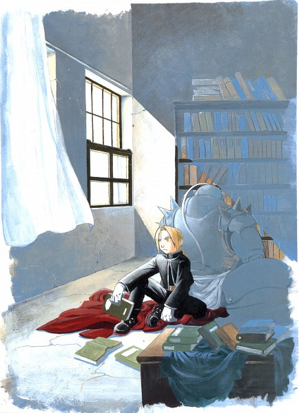 Tags: Anime, Arakawa Hiromu, Fullmetal Alchemist, Fullmetal Alchemist Art Book Vol. 2, Edward Elric, Alphonse Elric, Official Art, Scan