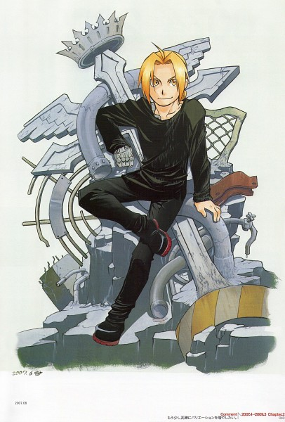 Tags: Anime, Arakawa Hiromu, Fullmetal Alchemist, Edward Elric, Official Art, Mobile Wallpaper
