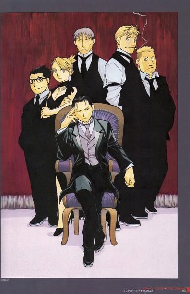 Tags: Anime, Arakawa Hiromu, Fullmetal Alchemist, Riza Hawkeye, Jean Havoc, Vato Falman, Roy Mustang, Kain Fuery, Heymans Breda, Armchair, Mobile Wallpaper, Official Art