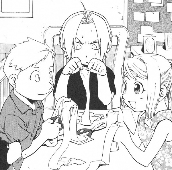 Tags: Anime, Arakawa Hiromu, Fullmetal Alchemist, Alphonse Elric, Edward Elric, Den (FMA), Winry Rockbell, Novel Illustration, Official Art